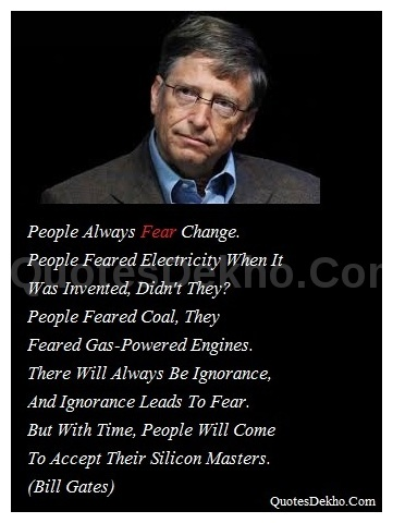 Bill Gates Fear Quotes whatsapp and facebook picture
